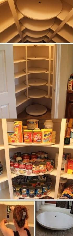 Organize Your Pantry (etc, incl shoes:): DIY Lazy Susan Pantry: This would be great for a small kitchen with limited storage space.