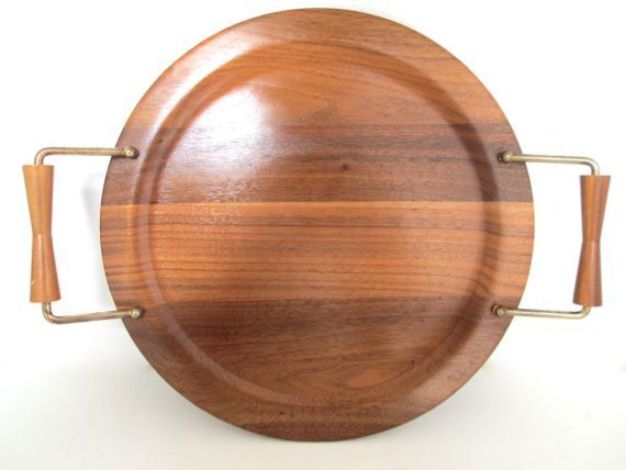Mid Century Modern Serving Tray Wood Handled Platter by ElmPlace, $35.00