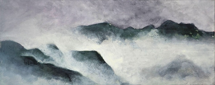 """Summer rain hanging on Ben Lomond""(Wakatipu)   Charlie Miller 2013  Acrylic on Canvas 64cm x 26cm"