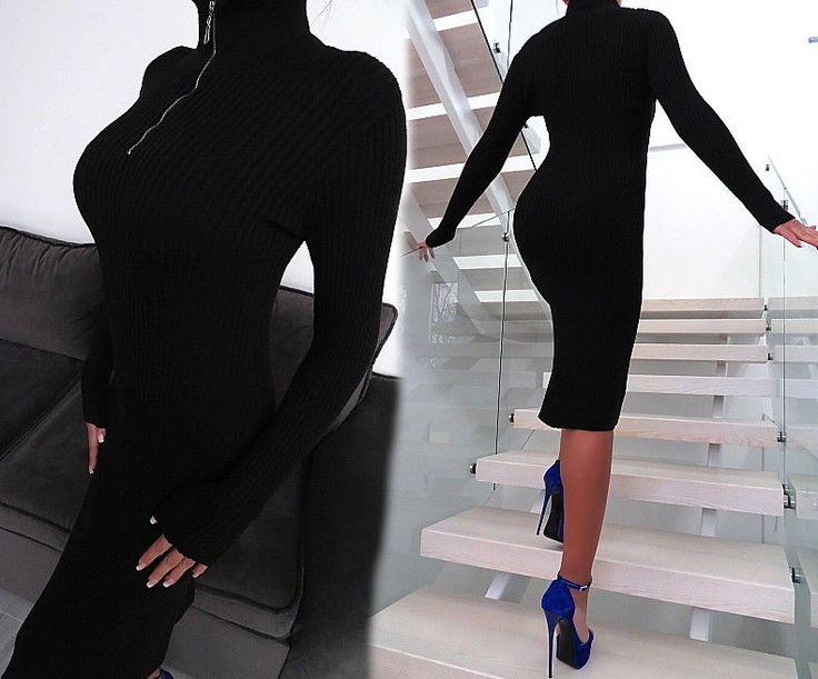 SCHWARZ WARM KLEID STRETCH LANGE Strickkleid BEST FIT Damen R79 Black Dress S