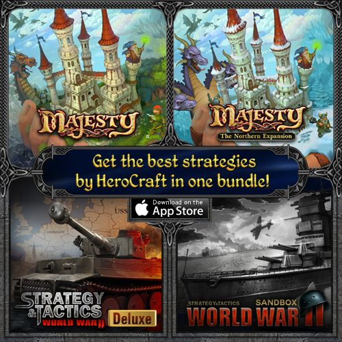 4 great strategy games in one bundle! Get Strategy & Tactics: WWII Deluxe, Sandbox as well as Majesty: Fantasy Kingdom Sim and Northern Expansion - all at once! App Store http://bit.ly/STMajBundle