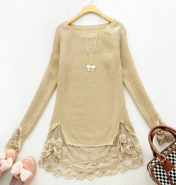 Add a little lace to your wardrobe with the lingering lace sweater. Stunning lace falls below the sweater and spills out onto the sleeves. This beauty can be paired with leggings or jeans for a classy