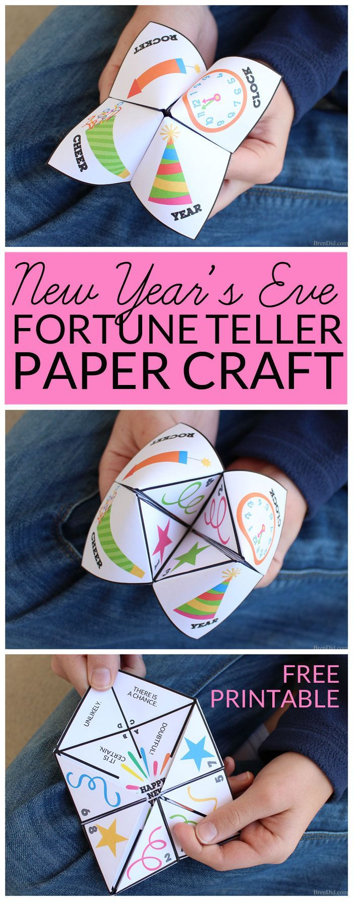 "Make New Year's Eve a fun family celebration! This free printable New Year's Eve Fortune Teller party game is great for both kids and adults. The paper fortune teller will ""magically"" predict the answers your most burning questions for the next year as you select pictures and numbers."