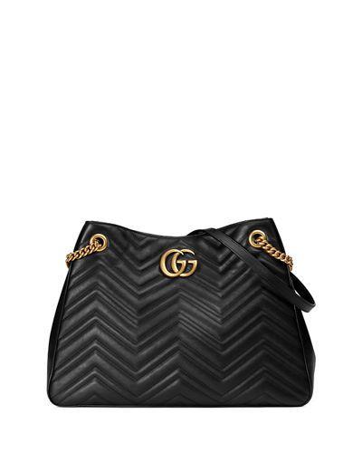 GUCCI GG MARMONT MATELASSÉ SHOULDER BAG, BLACK. #gucci #bags #shoulder bags #leather #lining #