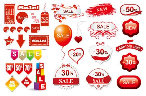 3 Sets Of Discount Sales Decoration Vector Material Elements Pinterest Icons Decoration And Set Of