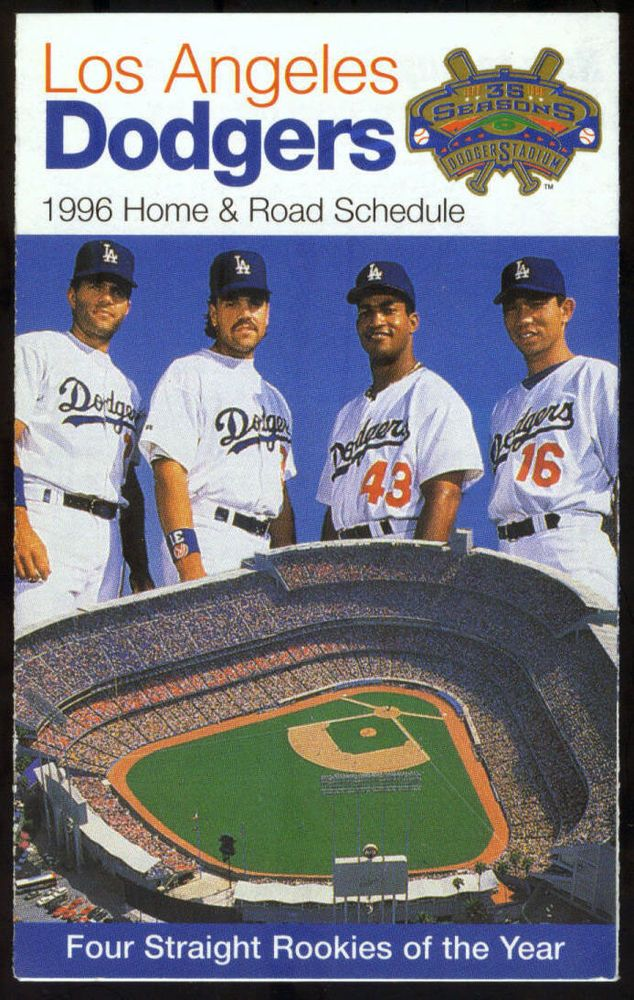 1996 LOS ANGELES DODGERS L A CELLULAR POCKET SCHEDULE 4 ROOKIES OF THE YEAR #PocketSchedules