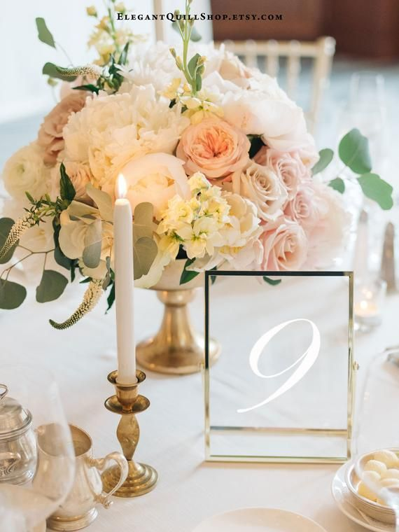 Gold table numbers, modern wedding decor, glass table numbers, wedding table numbers, ...