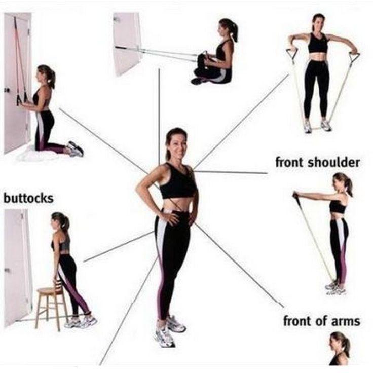 11PCS Resistance Band Set Yoga Pilates Abs Exercise Fitness Tube Workout Bands | eBay