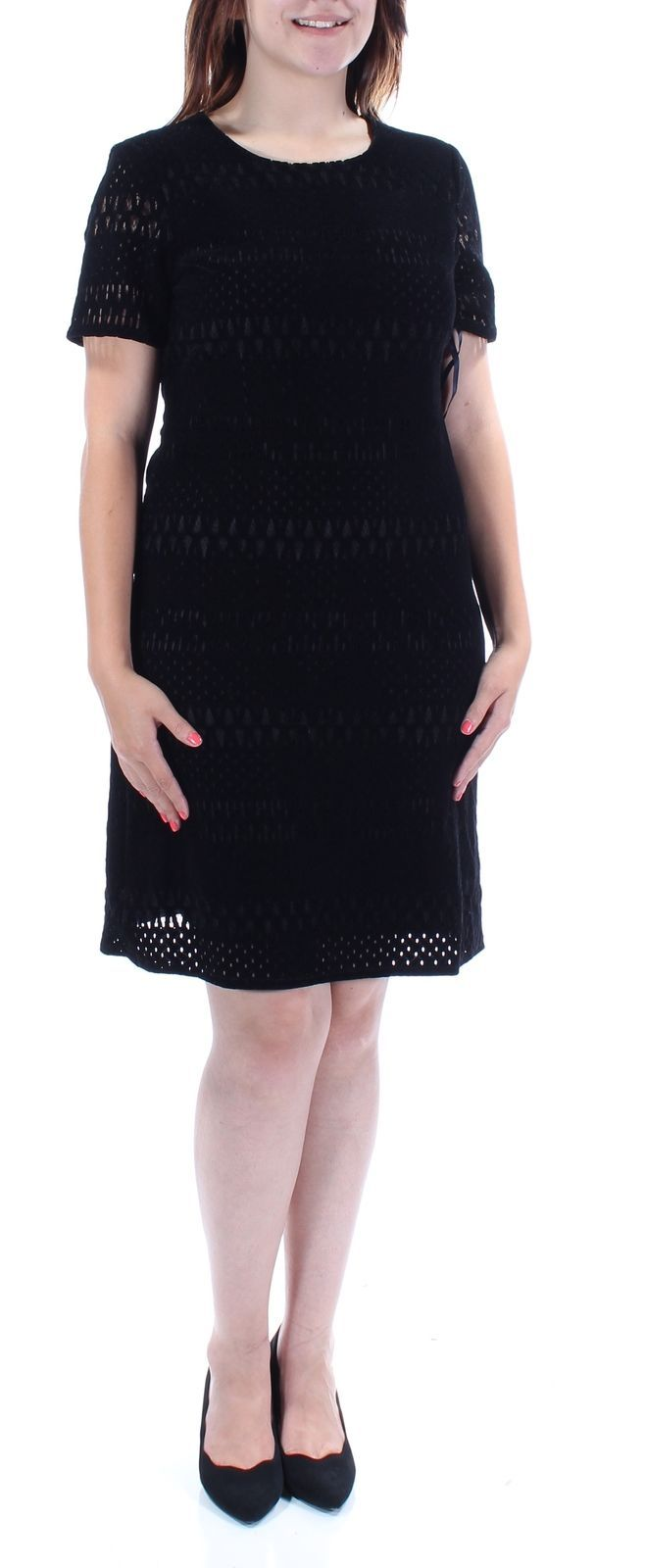 Cool Awesome TOMMY HILFIGER $149 Womens New 1362 Black Velvet Fit + Flare Dress 4 B+B  2018