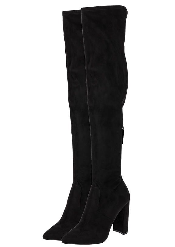 80bc27f11341 Черные сапоги ботфорты на каблуке SM11000227 black