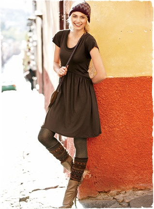 I love this look. The leg warmers, the hat, the dress. I wish they would make some fair Isle stuff out of cotton though.