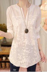 Fashionable V-Neck Organza Long Sleeve Blouse For Women (WHITE,2XL) | Sammydress.com Mobile