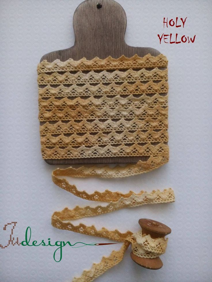 Hand dyed cotton lace - HOLY YELLOW - 13mm wide 1,1yard by xJudesign on Etsy