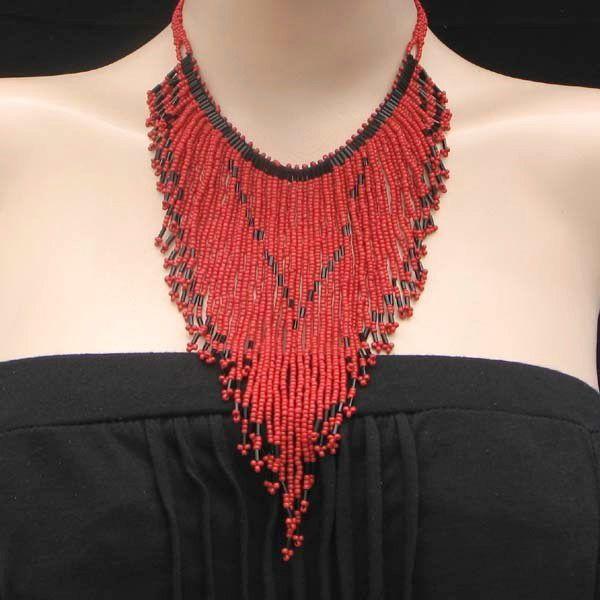 Red Black Beaded Long Bib Necklace Earrings