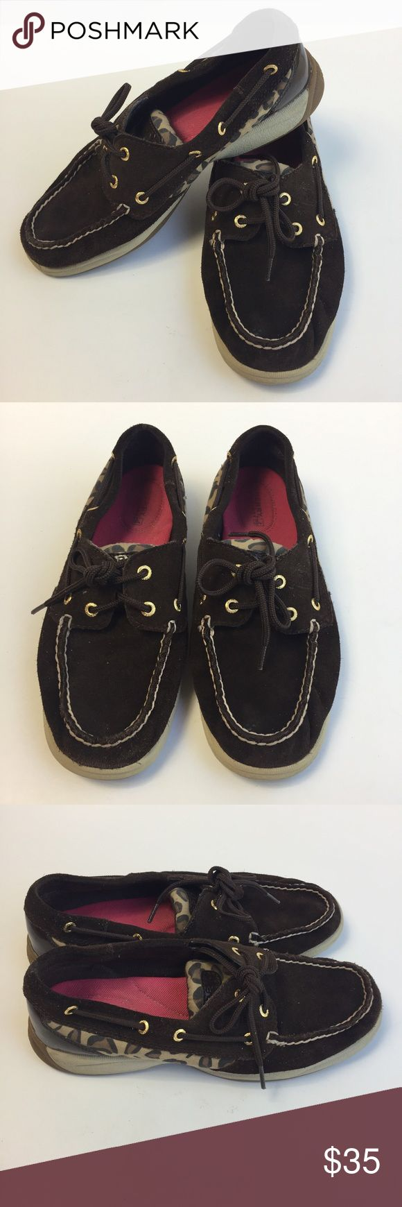 🔥 SALE 🔥 •• Sperry • KOIFISH Cheetah BOAT SHOES Women's designer boat shoes. Minor wear see pictures overall in good condition. Only have been worn a handful of times. These shoes go with EVERYTHING!  Material: Leather Color: Dark Brown Tan Cream Pink Interior (LLR5-DWN) Sperry Shoes Flats & Loafers