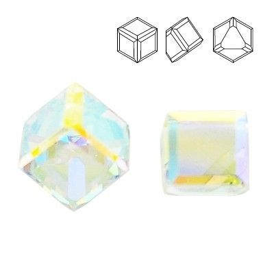 4841 Cube 4mm Crystal AB  Dimensions: 4mm Colour: Crystal AB 1 package = 1 piece