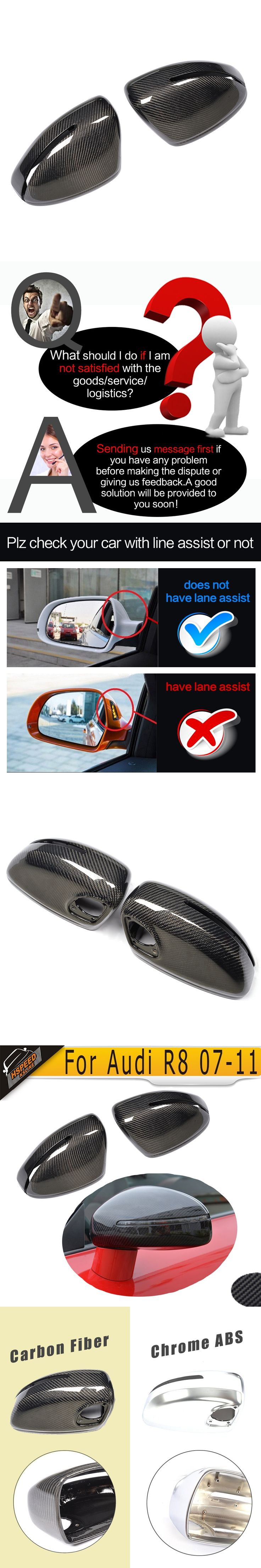 R8 Carbon Fiber Replaced Mirror Covers for Audi R8 2007 2008 2009 2010 2011 Rear Mirror Cap Rearview