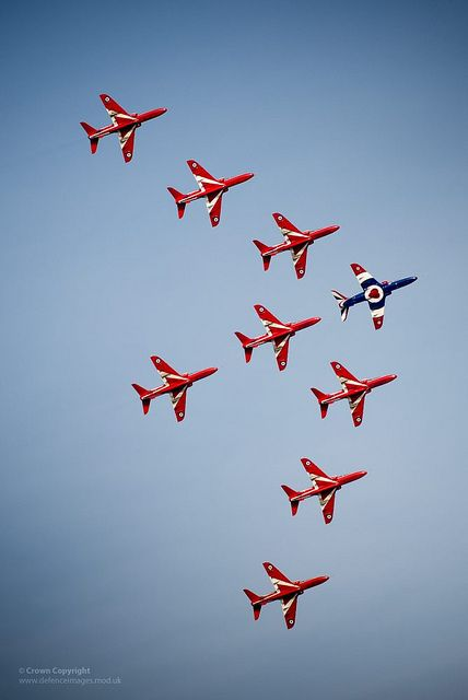 The Royal Air Force Aerobatic Team The Red Arrows perform with 9 Hawk aircraft for the 1st time since the tragic losses of 2011. They flew a practice display at RAF Cranwell on 28 February 2013, signalling their intent to return to the classic 9 aircraft formation for the 2013 aircraft display season.