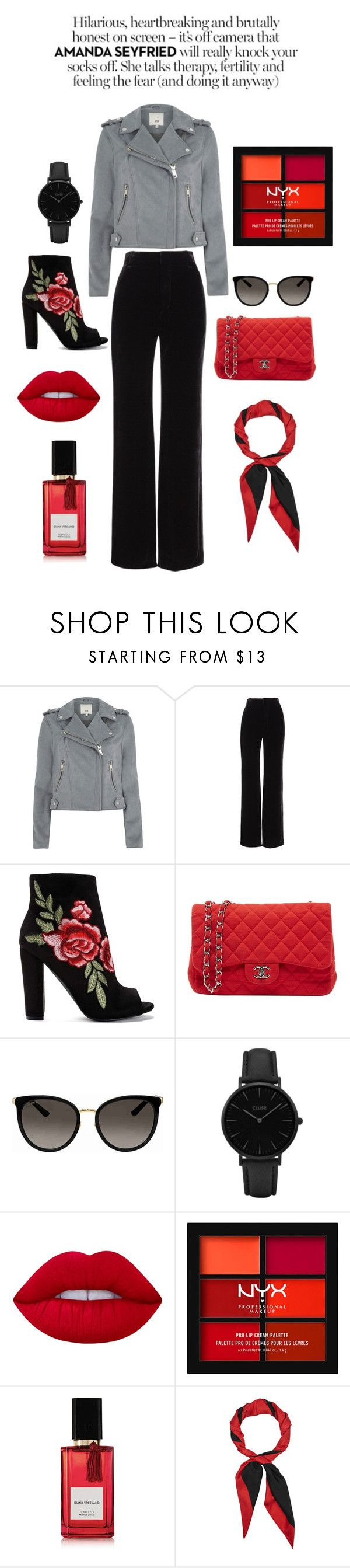 """red&black"" by lykke-medholdt ❤ liked on Polyvore featuring River Island, Vince, Chanel, Gucci, CLUSE, Lime Crime, NYX and Diana Vreeland Parfums"