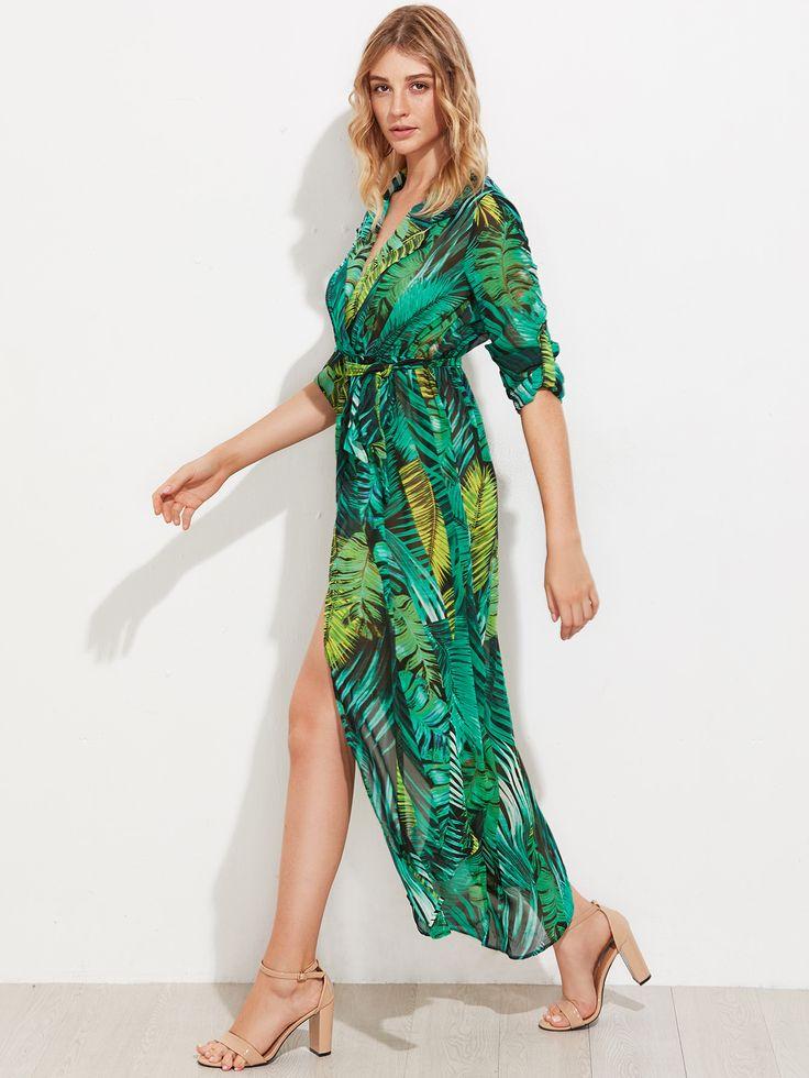 Shop Allover Palm Leaf Print Curved Hem Shirt Dress online. SheIn offers Allover Palm Leaf Print Curved Hem Shirt Dress & more to fit your fashionable needs.