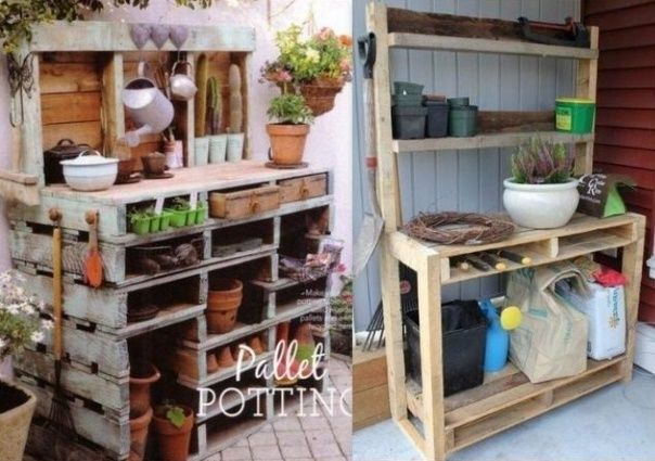 Palettes in the Garden http://www.nafeusemagazine.com/Idees-pour-faire-une-table-a-rempoter-en-recup-_a1041.html