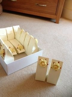Ivory rose favour boxes for miniature alcohol bottles