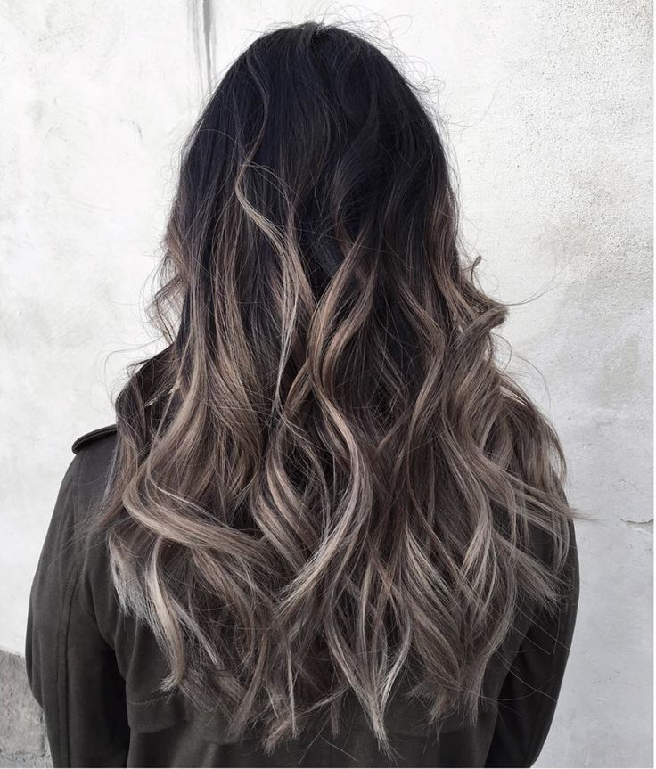 Grey ombré hair colour and highlights Long hair styles