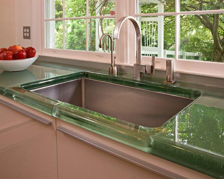Jockimo Green Glass Countertop Sink Detail Kitchen Countertop Materialsrecycled Glass