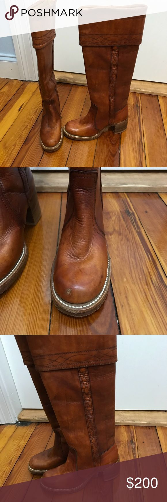 Frye vintage braided riding boots cognac brown 5 Vintage super thick leather Frye boots. These are the campus riding boot style. Black tag vintage Frye from the 1960's. Knee high. Good vintage condition and could use a polish. True to size 5. Frye Shoes Heeled Boots