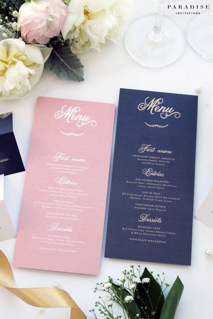 Laura Blush and Navy MENUS, Printable Menus or Printed Menus, Navy and Ivory Elegant Menus, Wedding Table Stationery, Wedding Menu