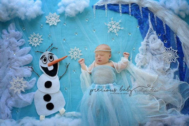 Little Ice Princess with her Snowman friend! Newborn Photography Angela Forker unique Baby Imaginart scene www.preciousbabyphotography.com