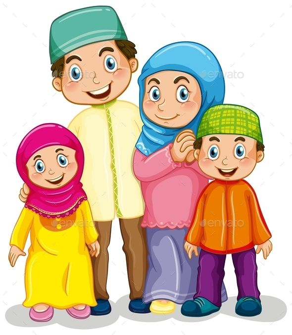 Muslim Family (JPG Image, Vector EPS, CS, cartoon, child, children, costume, culture, dad, daughter, family, father, happy, islam, islamic, isolated, kids, mom, mother, muslim, on white, outfit, picture, relationship, relatives, religion, religious, sibling, son, tradition, traditional, white, white background)
