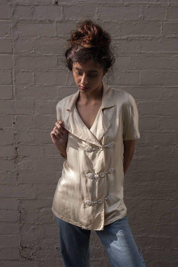 década de 1930 fina blusa de seda chinoiserie