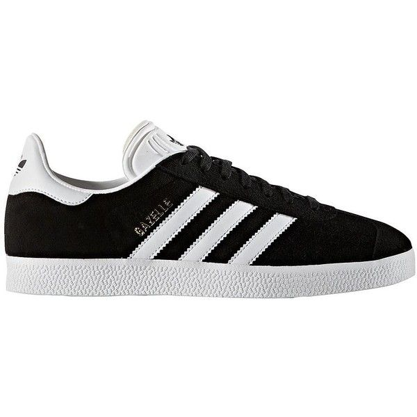 Adidas Women's Gazelle Leather Sneakers ($80) ❤ liked on Polyvore featuring shoes, sneakers, black white, lacing sneakers, leather upper shoes, adidas, adidas sneakers and laced up shoes