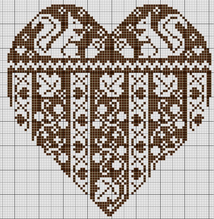 Magical world of Cross Stitch: Heart - embroidered amulet love