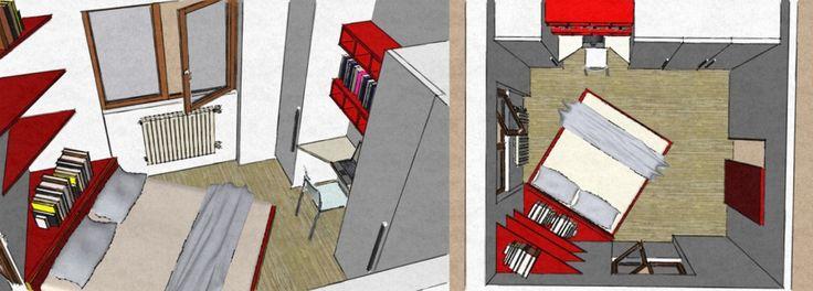 La seconda soluzione ricalca la posizione del letto analizzata nella prima, ma sfrutta la parete con armadi e non con una struttura in muratura. Gli armadi sono inframmezzati da una piccola zona studio/scrivania che permette di diminuire la profondità degli arredi in concomitanza con l'angolo del letto, rendendo agevole il passaggio