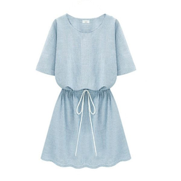 Dress O Neck Short Sleeve Casual Dress (1,225 DOP) ❤ liked on Polyvore featuring dresses, vestidos, short sleeve dress, blue short sleeve dress, short-sleeve dresses and blue dress