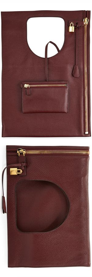 TOM FORD Alix Leather Padlock & Zip Fold-Over Bag   LOLO❤