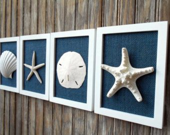 Cottage Chic Set of Beach Wall Art, Nautical Decor, Beach House Wall Decor, Sea Shell Art, Beach Decor, Coastal Art, White with Navy Burlap