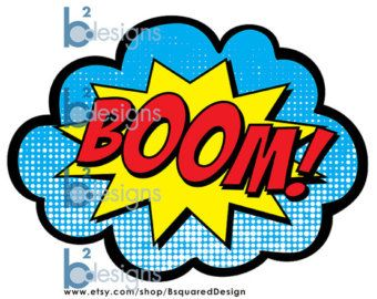 Superhero Party Signs Boom Pow Zap Bam Pop 8.5 by BsquaredDesign