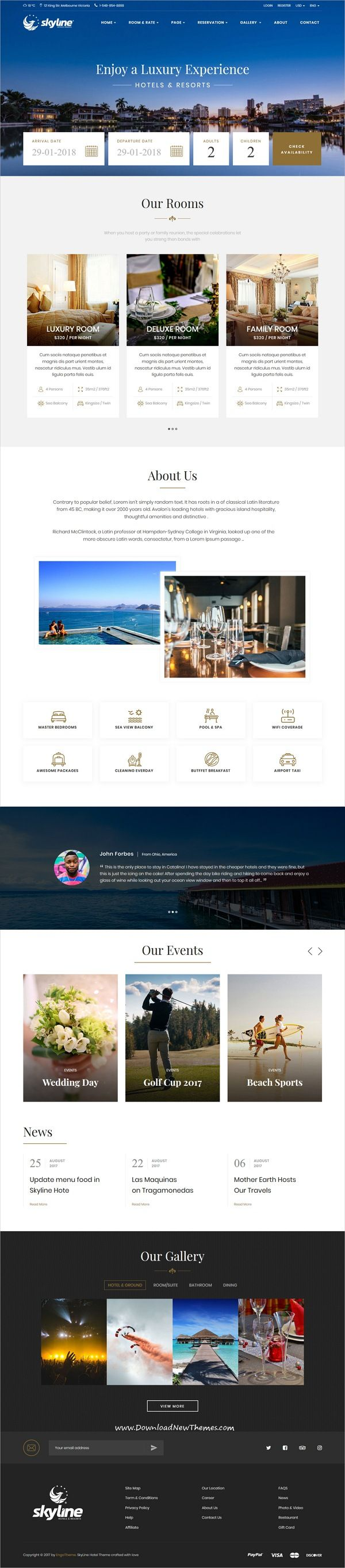 SkyLine is clean and modern design 4in1 responsive #HTML bootstrap template for beautiful #hotel and #resorts online booking #website to live preview & download click on Visit