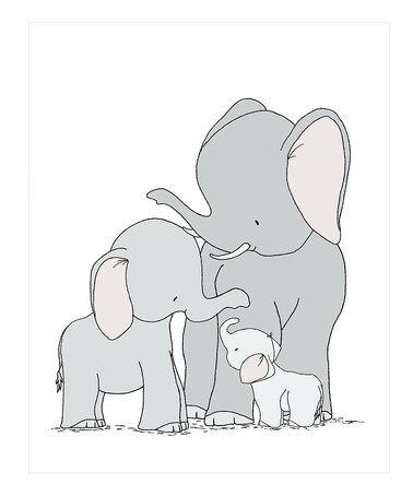 Look at this #zulilyfind! Elephants One Big Happy Family Print #zulilyfinds