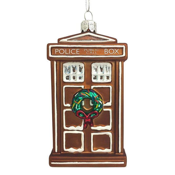 "Amazon.com: Kurt Adler 4.5"" Doctor Who Glass Gingerbread TARDIS Ornament: Home & Kitchen"