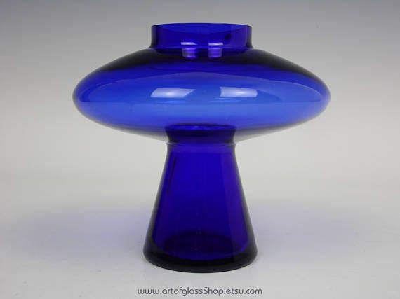 Alsterfors cobalt blue 'UFO' glass vase