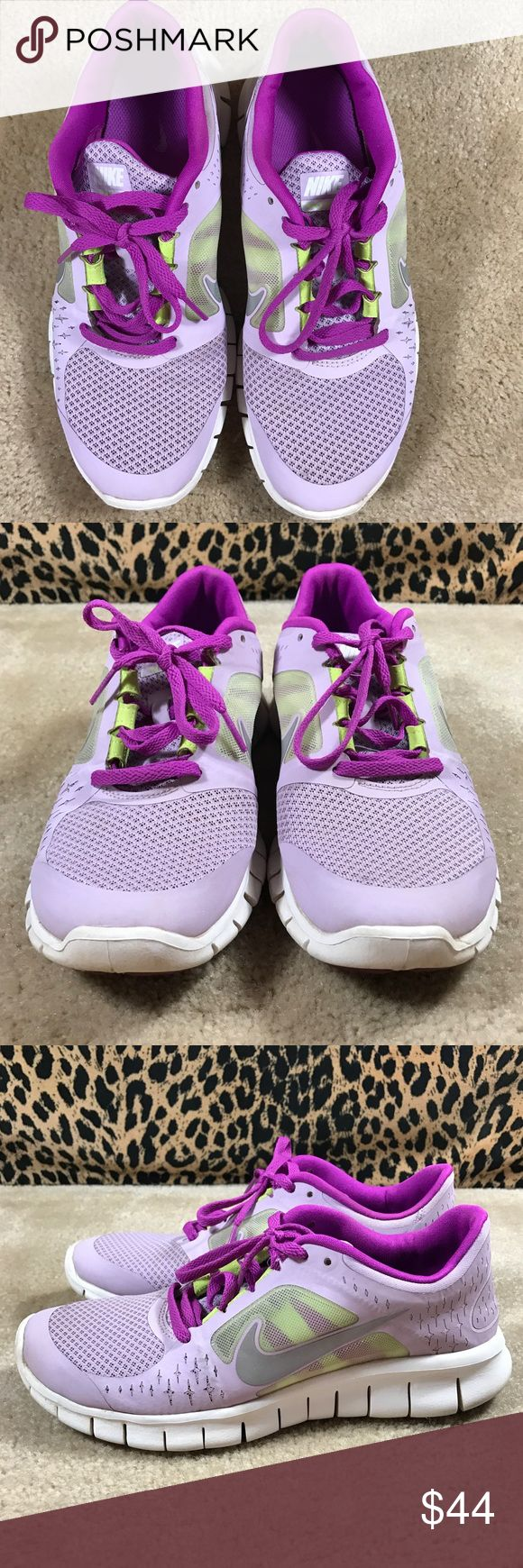 EUC Nike GirlsFree Run 3 512098-500 6.5Y Violet Wash/Silver-Magenta-Volt. Great mesh on outside reveals volt color under.  The Nike Free Run 3 Kids' Running Shoes are comfortable and highly flexible so your feet become stronger. The kids' running shoes provide a customized, barefoot-like feel. The lightweight upper features superior breathability with mesh panels, and a modified Nike Free outsole with flex grooves enhances the foot's flexibility and stability. Nike Shoes Sneakers
