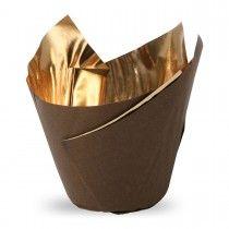 Muffiny tulipan Royal brąz+złoto 50x80mm