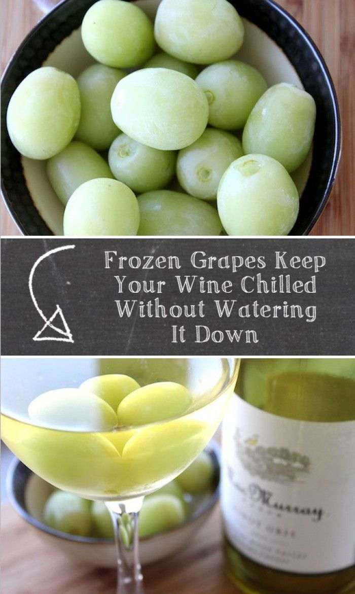 Friere Weintrauben ein und nutze Sie als Eiswürfel für den Wein ohne das der Wein wässerig wird. Noch mehr tolle Tipps gibt es auf www.Spaaz.de