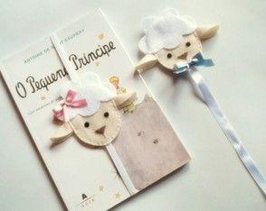 Marcador de páginas ovelha em feltro