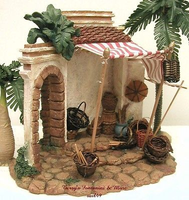 "Fontanini italy 5"" retired 1999 basket shop nativity village building 50522 box"