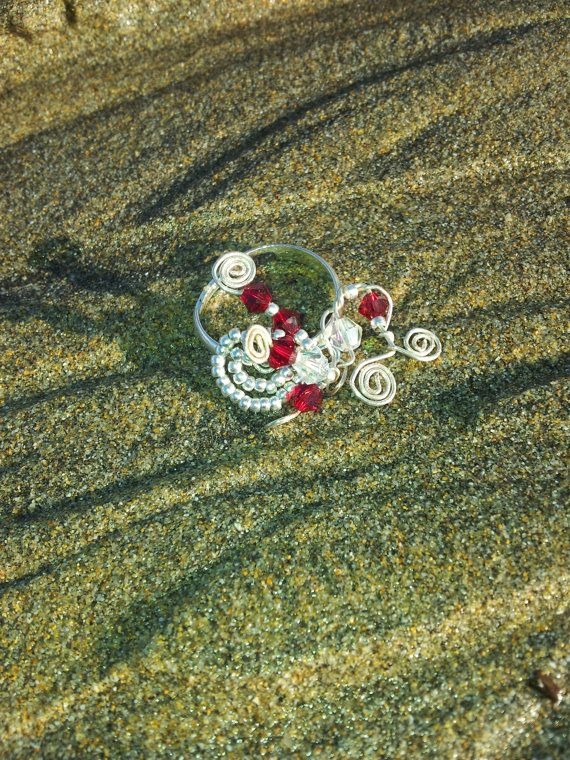 SALE Ruby Red Swarovski Crystal Beaded Wire Ring by OnenJewellery, £6.00